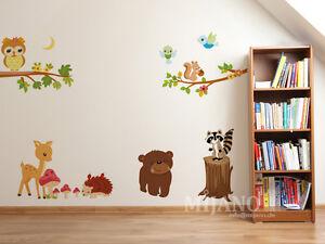 ... -Wandsticker-Wandaufkleber-Eulen-auf-Baum-Waldtiere-Kinderzimmer-Deko