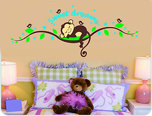 wandtattoo zooyoo affe wand sticker dschungel kinderzimmer ebay. Black Bedroom Furniture Sets. Home Design Ideas