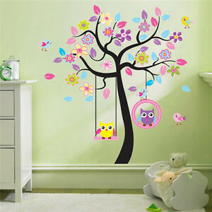 wandtattoo zooyoo wandsticker baum eule deko kinderzimmer xxl 6 ebay. Black Bedroom Furniture Sets. Home Design Ideas