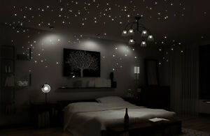 wandtattoo leuchtender sternenhimmel leuchten fluoreszierend sterne 256 stk ebay. Black Bedroom Furniture Sets. Home Design Ideas