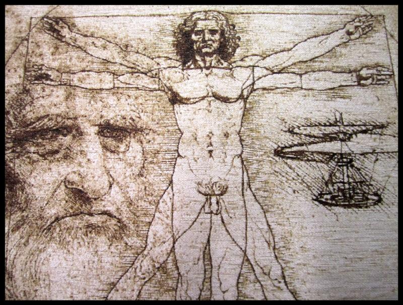 Wall carpet from Italy deco Leonardo Da Vinci Vitruvian