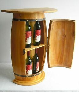 wandtisch tisch weinfass schrank weinregal fass aus holz h 73cm ebay. Black Bedroom Furniture Sets. Home Design Ideas