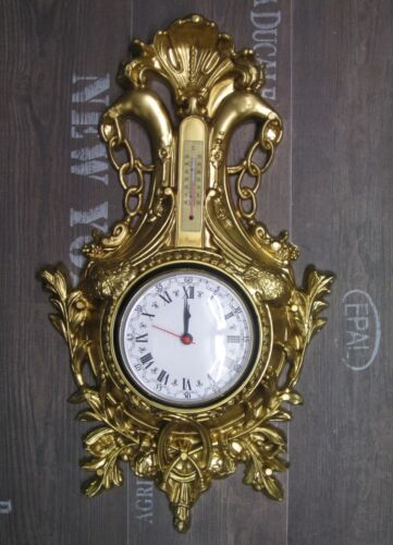 wall clock swan in gold with thermometer antique look. Black Bedroom Furniture Sets. Home Design Ideas