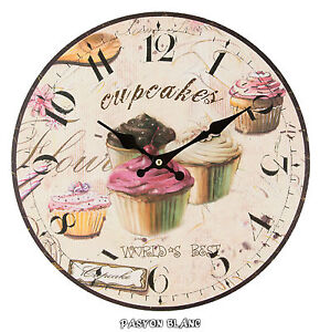 wanduhr uhr cupcakes 34cm gross nostalgie shabby chic. Black Bedroom Furniture Sets. Home Design Ideas