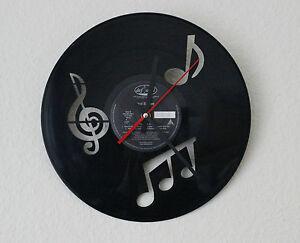 Wanduhr uhr quarz schallplatte noten musik ziffernblatt lasergravur gravur ebay - Wanduhr schallplatte ...