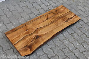 waschtisch tischplatte platte nussbaum massiv holz mit baumkante neu leimholz ebay. Black Bedroom Furniture Sets. Home Design Ideas