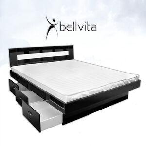 wasserbett bellvita hochglanz schwarz mit schubladen lieferung aufbau ebay. Black Bedroom Furniture Sets. Home Design Ideas