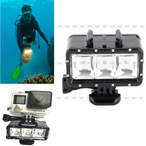 wasserdicht led leuchte videoleuchte unterwasser leuchter f r gopro hero bis 30m ebay. Black Bedroom Furniture Sets. Home Design Ideas