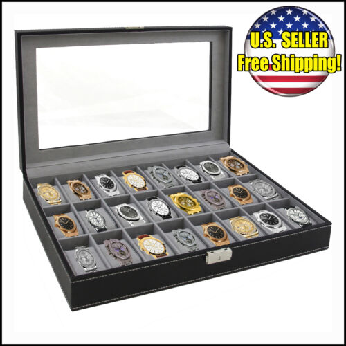 Watch Box Large 24 Mens Black Leather Display Glass Top Jewelry Case Organizer in Jewelry & Watches, Jewelry Boxes & Organizers, Jewelry Boxes | eBay