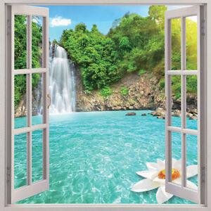 waterfall 3d window view removable wall art sticker vinyl