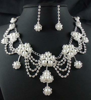 Bridal Pearl crystal necklace earring Sliver Jewelry set TL0360