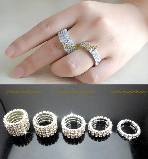 wedding bridal silver tone crystal rhinestone stretch band