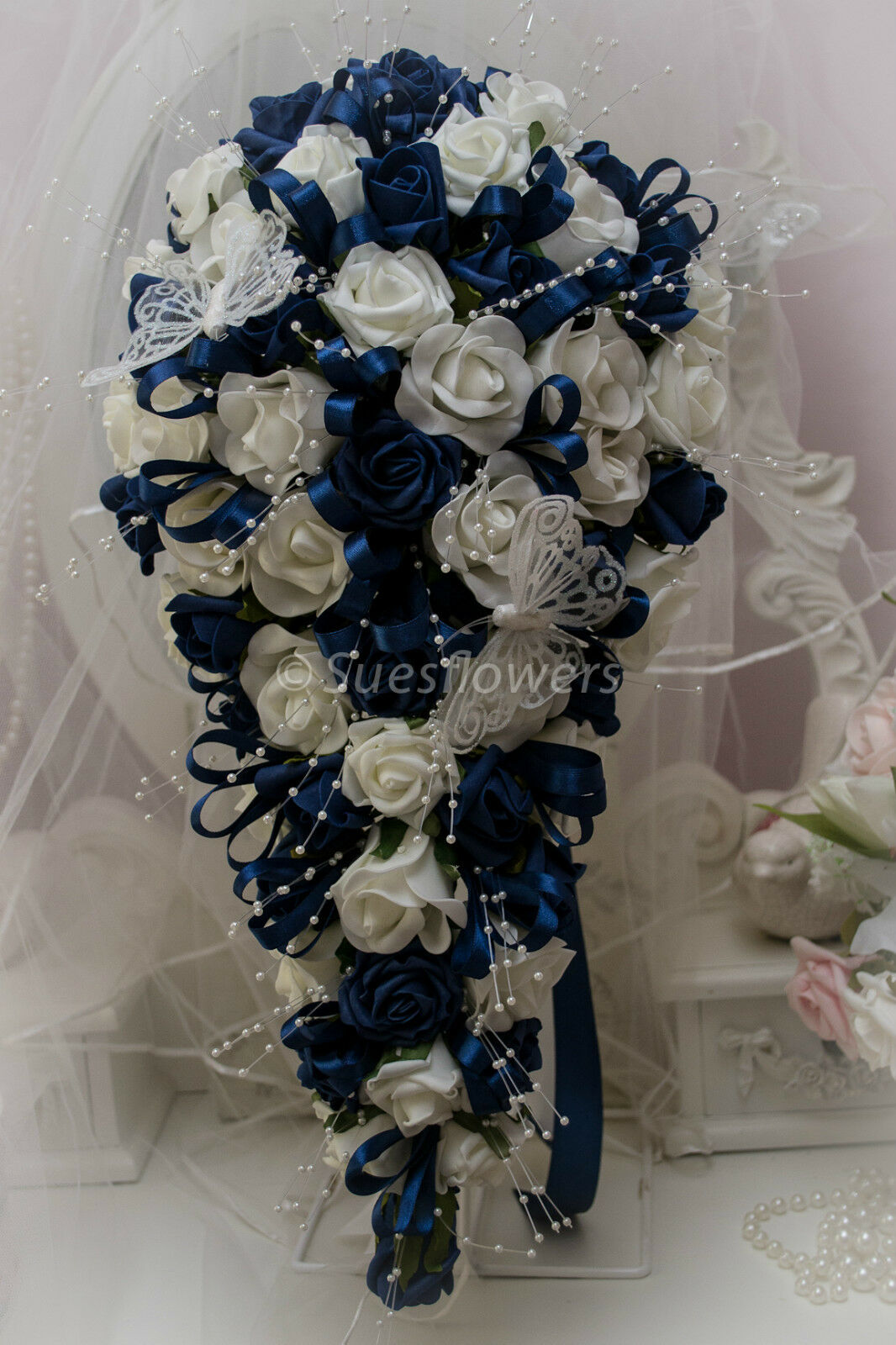About Wedding Flowers Brides Teardrop Bouquet In Navy Blue And Ivory
