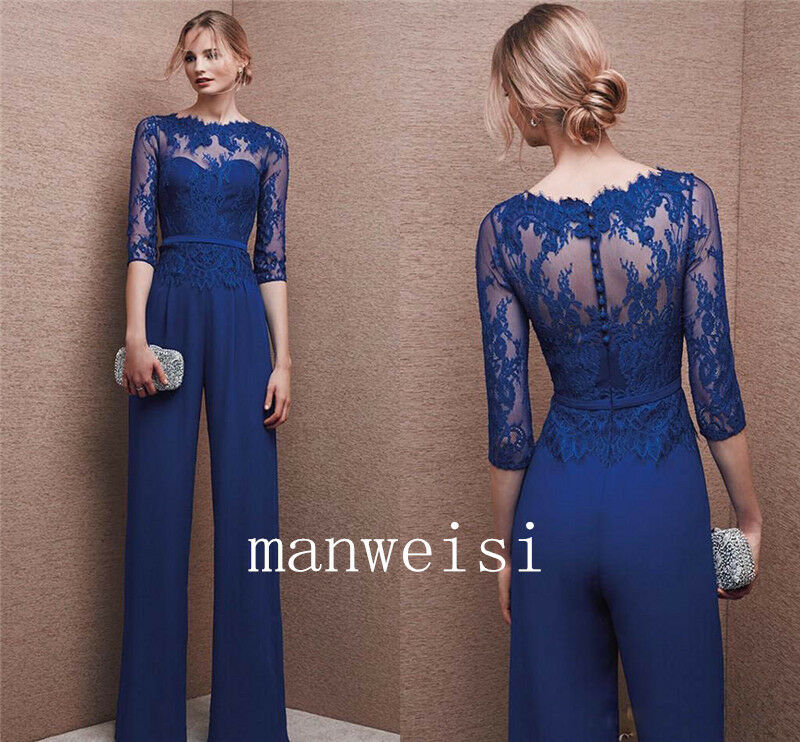 Wedding Formal Custom Mother Of The Bride Jumpsuits Navy