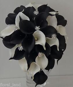 Wedding Bouquet Latex Black White Diamante Calla Lily Flower Collingwood Flowers