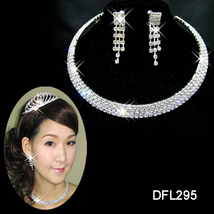 Wedding bridal bridesmaid 3 row crystal necklace earring Jewelry sets