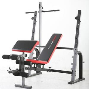 Weider Pro 550 Olympic Weight Bench Folding With Lat Pull Down Tower Ez Pad Ebay