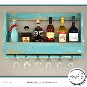 weinregal shabby vintage style t rkis holz wandregal glashalter flaschenregal ebay. Black Bedroom Furniture Sets. Home Design Ideas