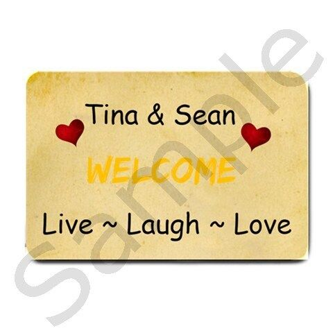 Welcome Front Door Mat Live Laugh Love Add Name Custom Personalized