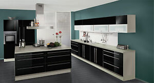 wellmann k che in hochglanz schwarz mit kochinsel ebay. Black Bedroom Furniture Sets. Home Design Ideas