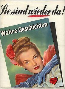 Werbeplakat fuer romanheft wahre geschichten um 1950 kiosk plakat