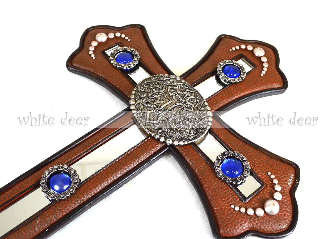 Western cowboy patch wall cross leather texture blue glass