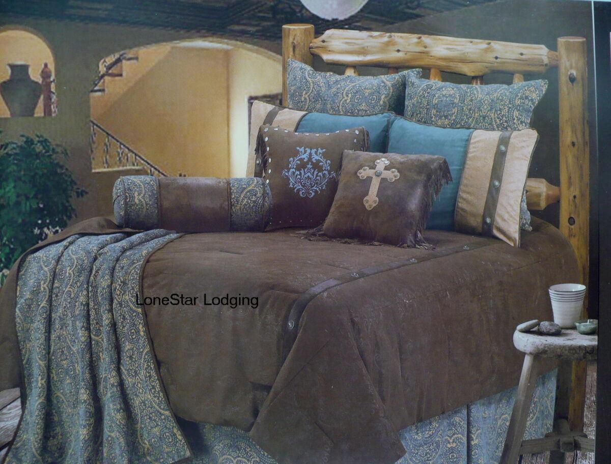 Western Rustic Lodge Turquoise Tooled Paisley Comforter Bedding Set 5