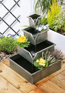 Wheaton-Planter-Cascade-Silver-Water-Feature-Fountain-Garden-Outdoor-Patio-Tier