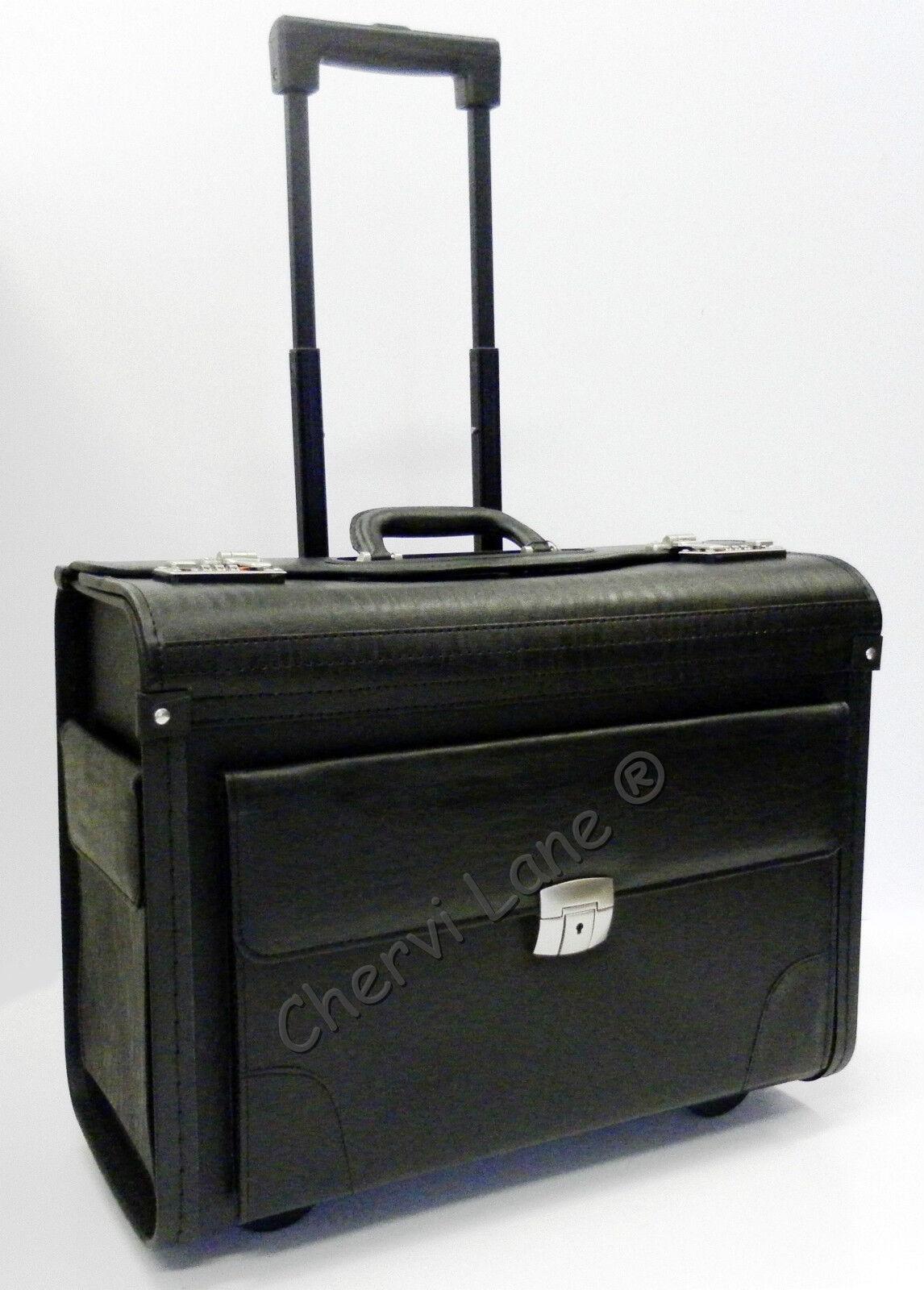 wheeled business black executive laptop flight pilot bag trolley case briefcase. Black Bedroom Furniture Sets. Home Design Ideas