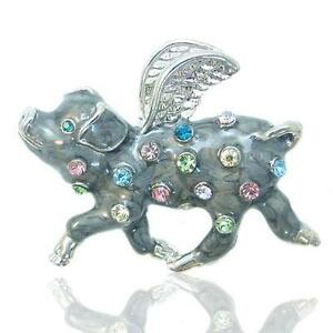 Details about When Pigs Fly Piggy Pin Brooch Multi Rhinestone Crystal