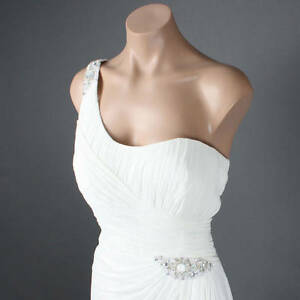 Shoulder White Dress on White Beaded Elegant Bridal One Shoulder Scarf Crystal Prom Formal