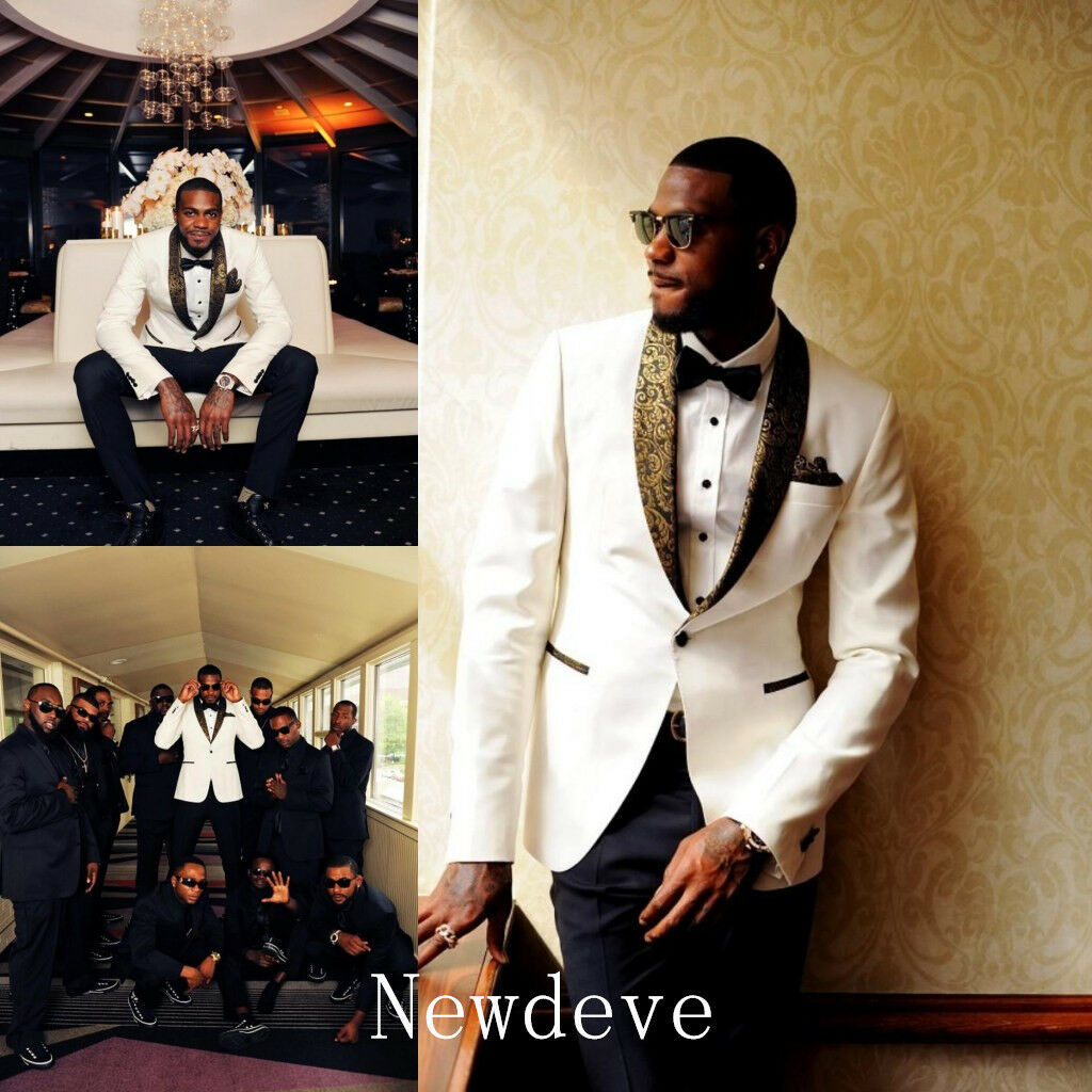 Details About White Black Best Man Groomsman Men S Wedding Prom 3 Piece Suits Groom Tuxedos