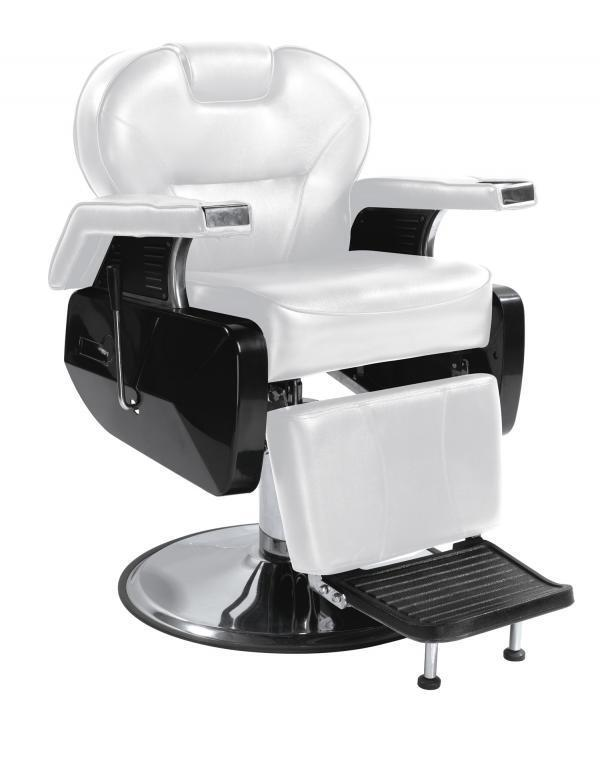 White Fashion Heavy Duty Hydraulic Recline Barber Chair Salon Beauty