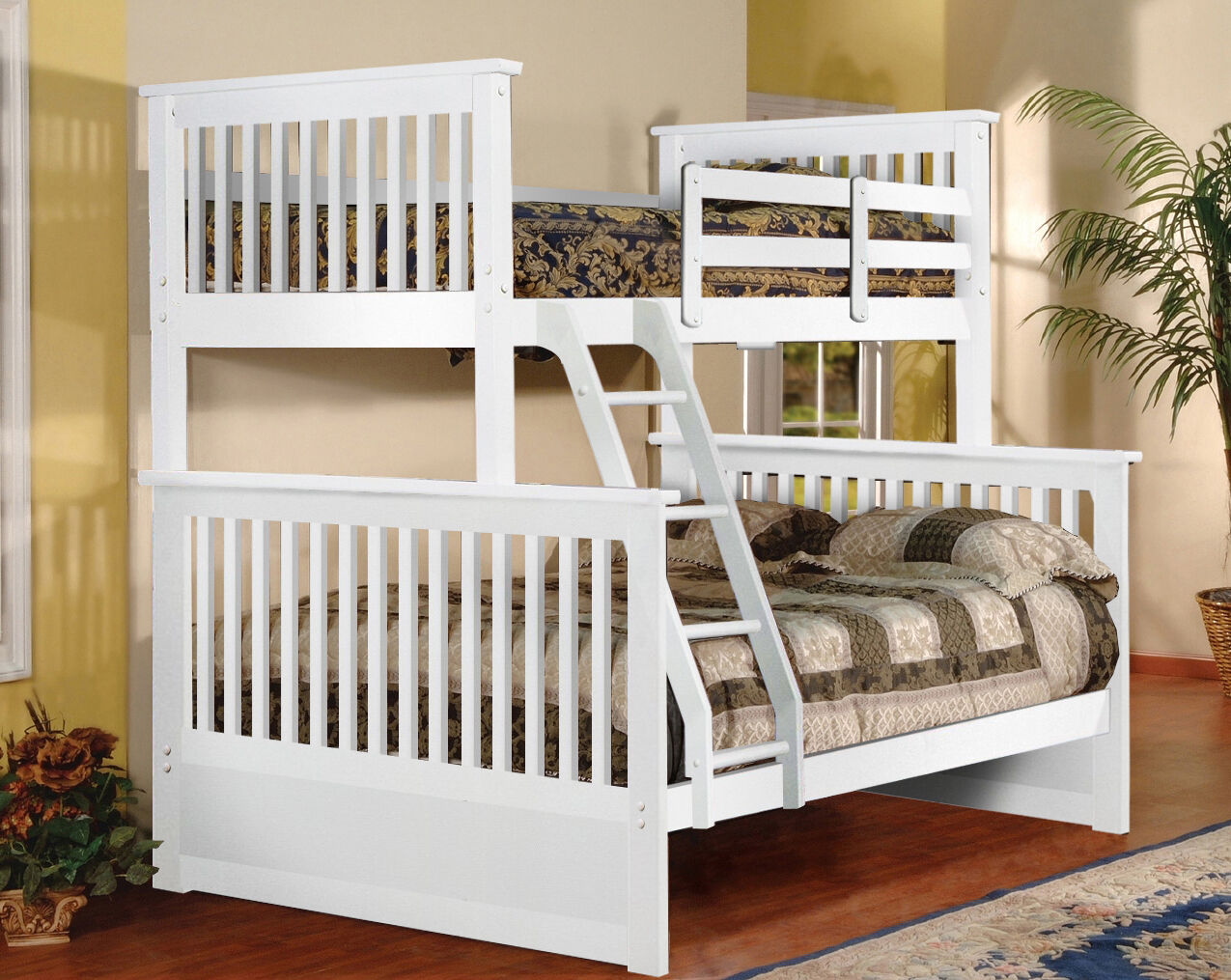 White Finish Wood Twin Over Full Size Convertible Bunk Bed