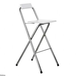 White Folding Wood Bar Stool Silver Powder Seat Chair Ebay