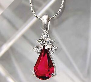 White Gold gp 3.5ct Pear Cut Red Ruby lab diamond Pendant Necklace Jewelry New in Jewelry & Watches, Fashion Jewelry, Necklaces & Pendants | eBay