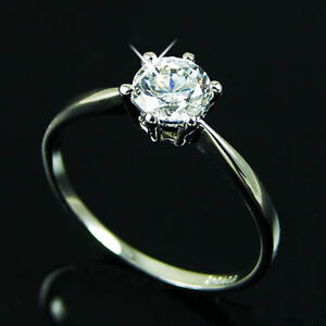 White Gold gp lab Diamond Solitaire Engagement Wedding Party Ring Size 5 6 7 8 9 in Jewelry & Watches, Engagement & Wedding, Engagement Rings   eBay