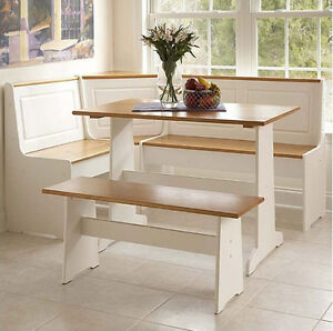 Dining Room on White Kitchen Dining Room Wood Corner Breakfast Nook Table Bench Chair