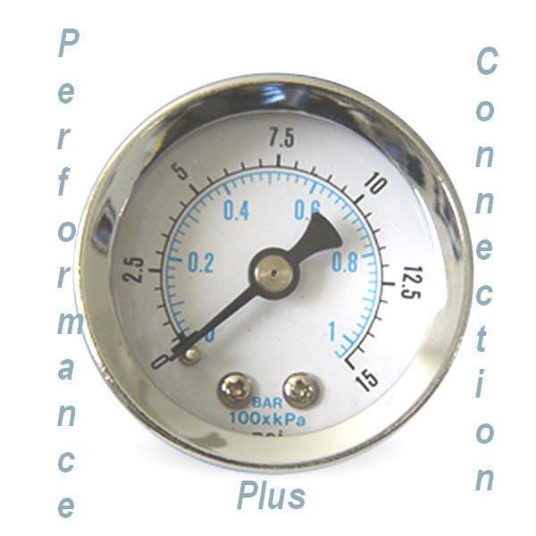 White Liquid Filled 15 PSI Fuel Pressure Gauge 1.5 dia_1/8 NPT