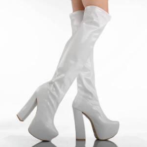 white patent go go disco dancer platform chunky high heel