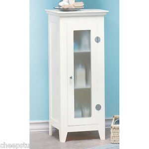 white storage cabinet with glass doors bathroom hall linen closet
