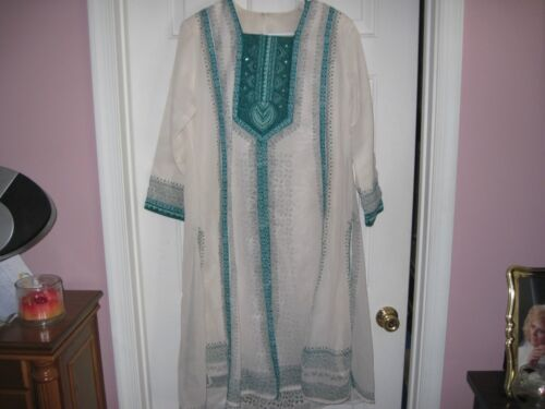 White & Teal Salwar Kameez Punjabi Sari Indian Pant Suit - EUC!!! in Clothing, Shoes & Accessories, Cultural & Ethnic Clothing, India & Pakistan   eBay