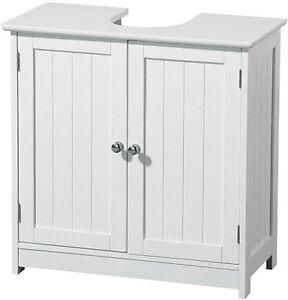 White Wood Under Sink Cabinet Bathroom Storage Rack With