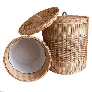 Wicker laundry basket lined with lid ebay - Rattan laundry basket with lid ...