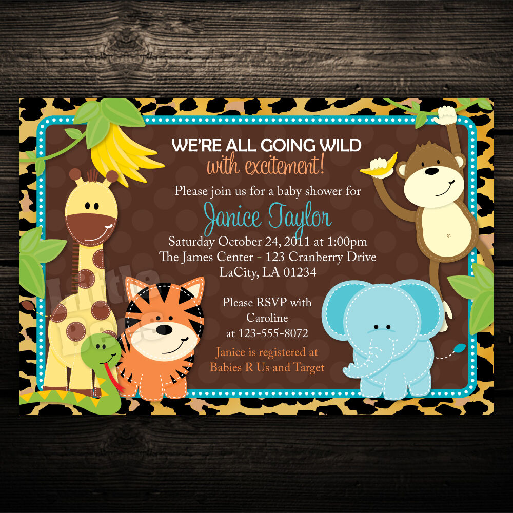 Print Jungle Safari Friends Baby Shower or Birthday Invitations