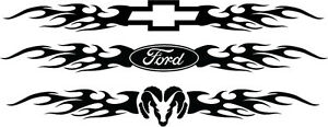 Windshield Decal Flames Ford Chevy Dodge Decal Sticker Car Truck Tattoo 22quot Long on close up car art