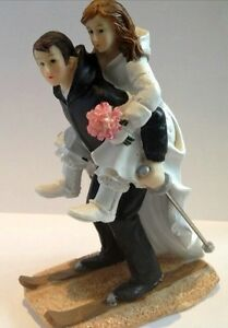 ski wedding cake toppers uk winter skiing wedding figurine for cake toppers ebay 20181