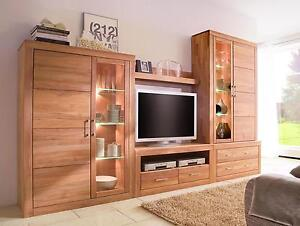 wohnzimmerschrank schrankwand anbauwand wohnwand kernbuche massiv holz ge lt ebay. Black Bedroom Furniture Sets. Home Design Ideas