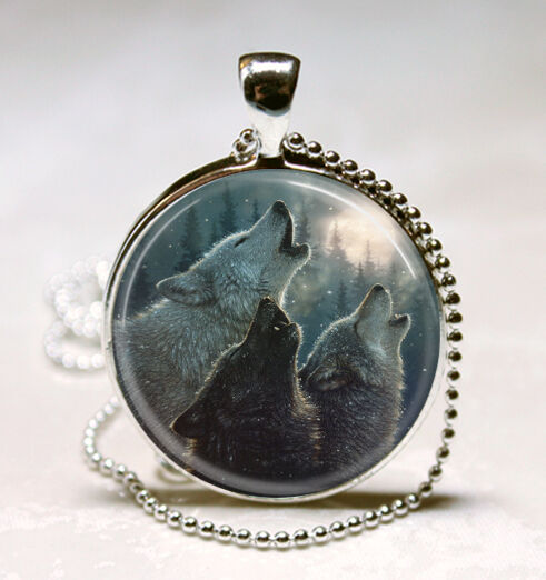 Wolf Pack Howling at the Moon Glass Tile Jewelry Necklace Pendant