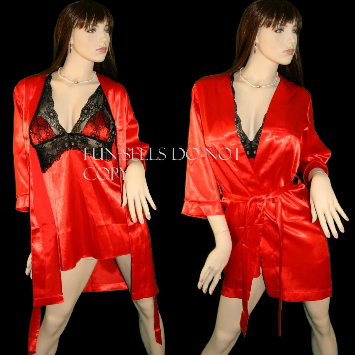 Woman's Sexy Baby Doll and Robe Red Black or Purple Satin Lace 2 PC Lingere